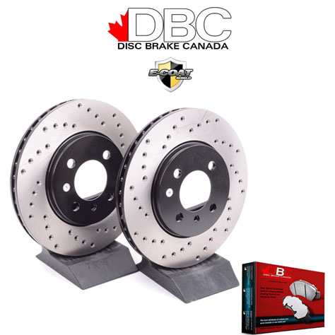 Black XD Cross Drilled Brake Rotors with Performance Carbon Brake Pads